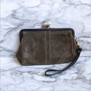 Coach Olive Green Suede Clutch Wristlet